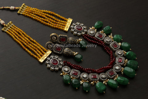 Victorian Beaded Necklace - Multicolor