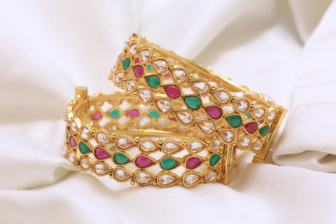 1 Gram Gold Emerald Ruby Polki Bangle - AristaBeads Jewelry - 1