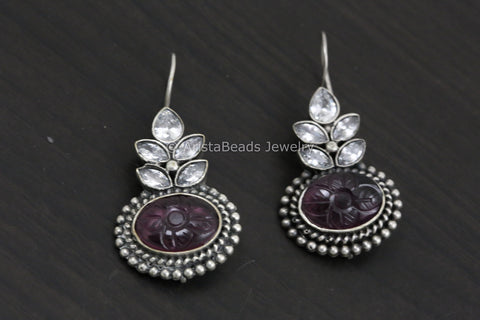 Silver Look Carved Stone Earring - Wine