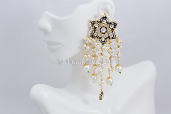 Enamel Kundan Tassel Earrings - Black