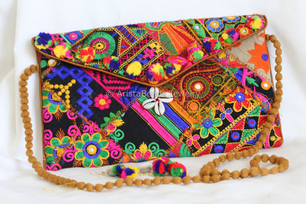 Banjara Patchwork Clutch Bag with Matching Earrings