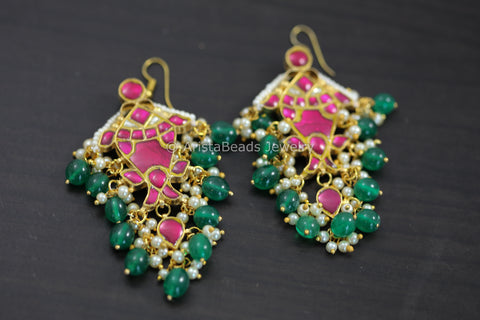Kundan Silver LookAlike Fish Earrings - Ruby