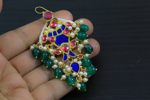 Kundan Silver LookAlike Fish Earrings - Blue