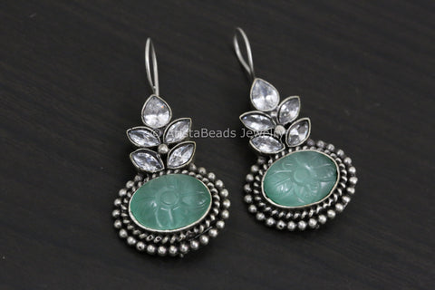 Silver Look Carved Stone Earring - Mint Green