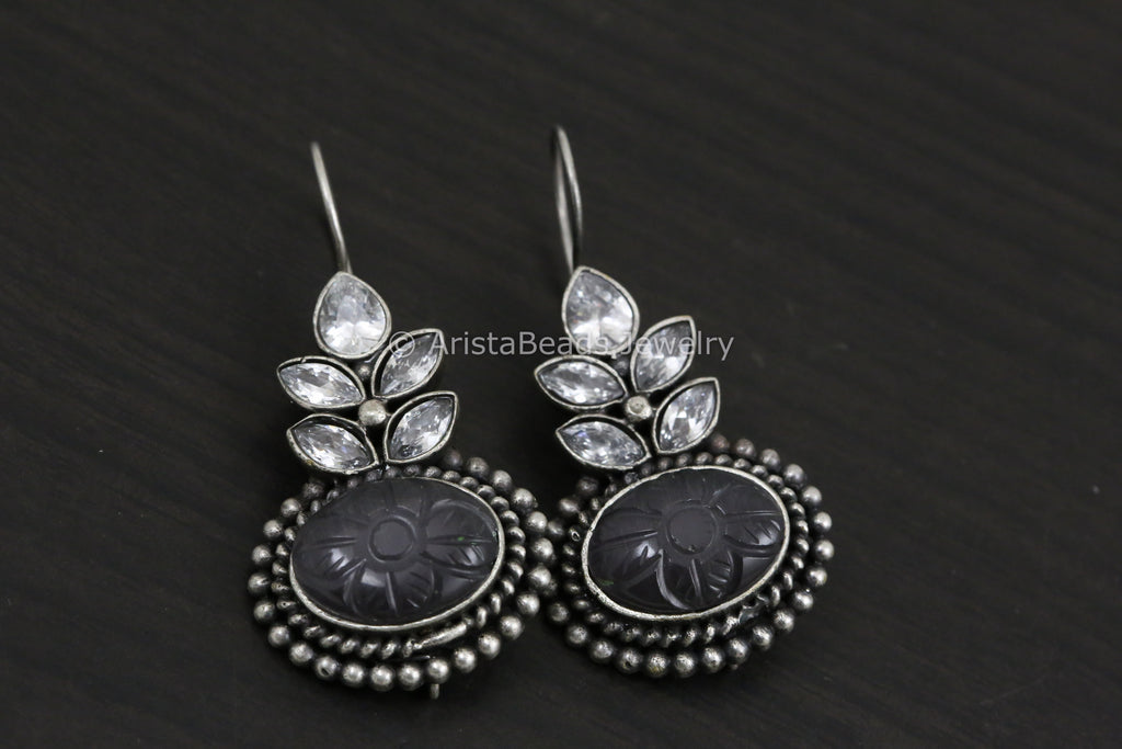 Silver Look Carved Stone Earring -Gray