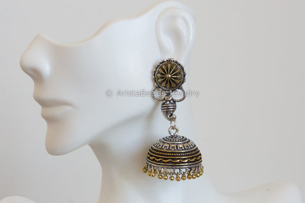 2 Tone Jhumka Earrings