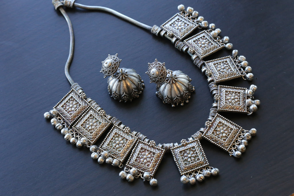 Silver Look Ghungroo Necklace