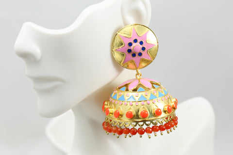 Large Enamel Jhumka -Pink Orange
