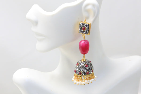 Contemporary Ruby Jhumka