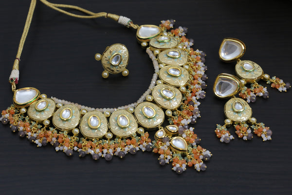 Jadau Enamel Kundan Necklace