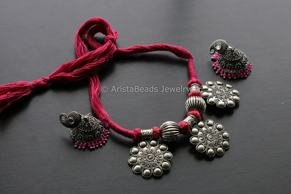 Pink Thread Tribal Necklace