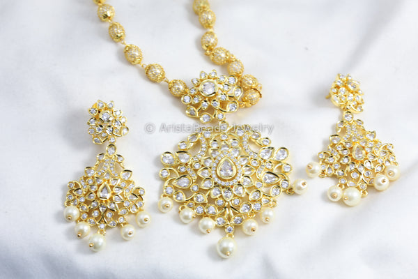 Clear Polki AD Necklace Set