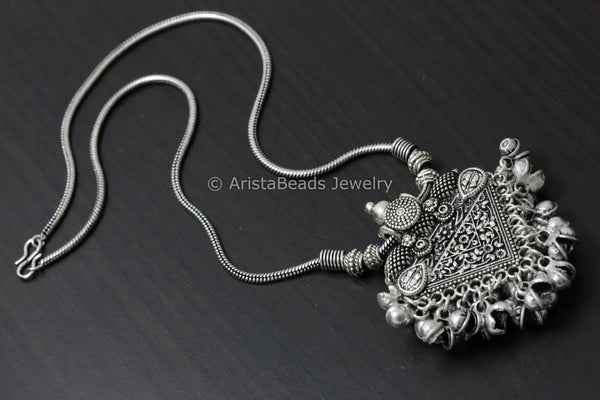 Oxidized Tribal Pendant Necklace - 2