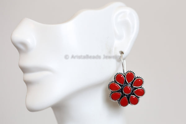 Silver Plated Red Coral Earrings