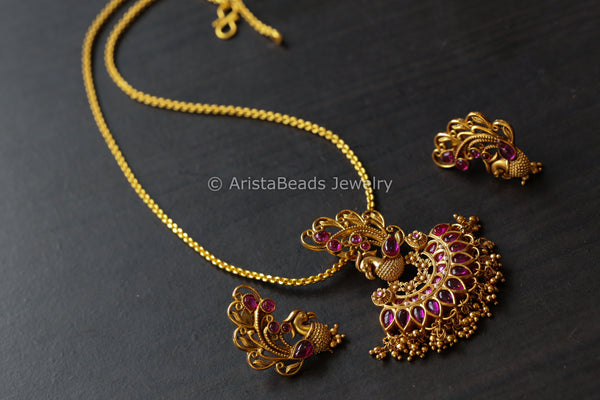 Antique Ruby Chain Necklace Set