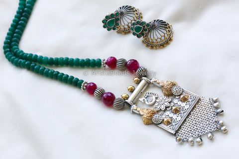 Green Pink Ethnic Peacock Necklace