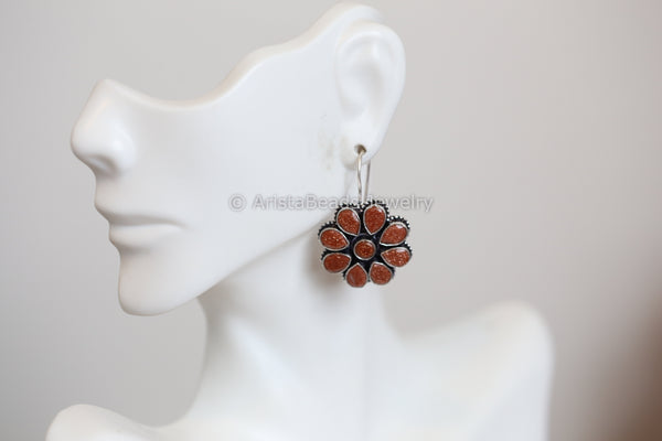 Silver Plated Sandstone Earrings
