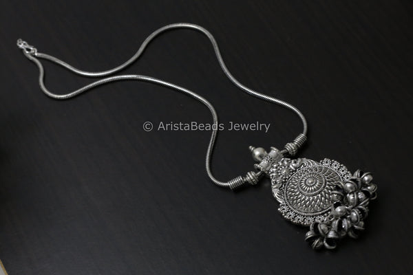 Oxidized Tribal Pendant Necklace - 5