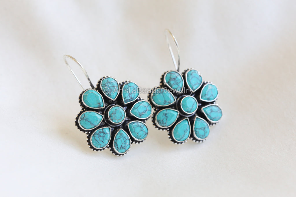 Silver Plated Turquoise Earrings