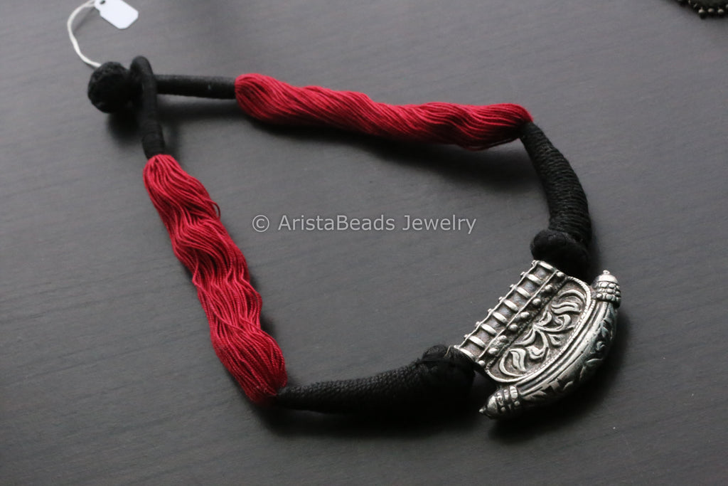 Silver Look Alike Tabeez Necklace - Red Black Thread