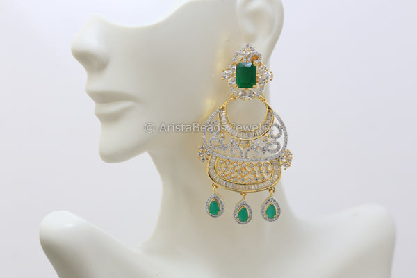 Emerald Green CZ Chandbaali