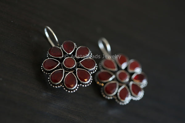 Silver Plated Maroon Earrings