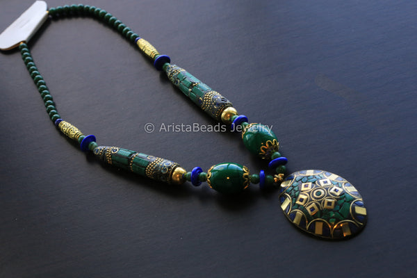 Malachite  Lapis Mosaic Work Necklace