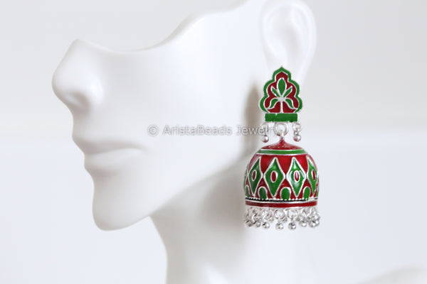 Red Green Enamel Jhumka