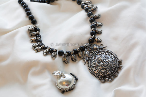 Silver Look Ganesha Oxidized Necklace