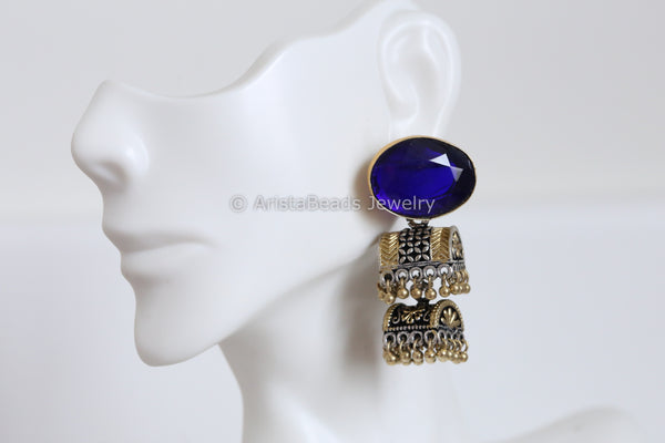 Blue Stud Layered Dual Tone Jhumka