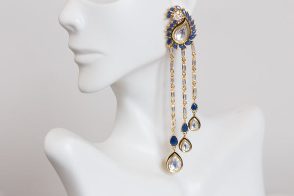 Contemporary Kundan Blue CZ Drop Earrings