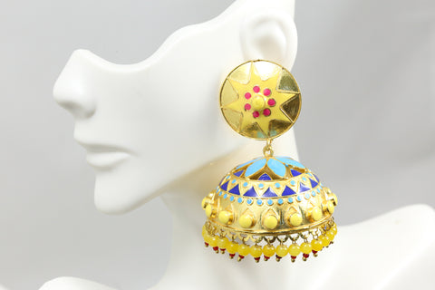Large Enamel Jhumka -Yellow