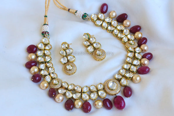Kundan Necklace With Ruby and Pearl Drops