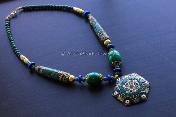 Malachite Lapis Mosaic Necklace