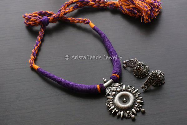 Purple Yellow Silver Look Necklace