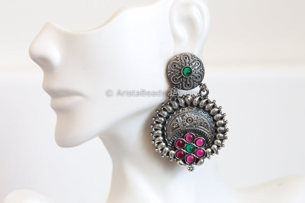 Oxidized Ruby Emerald Kemp Earrings
