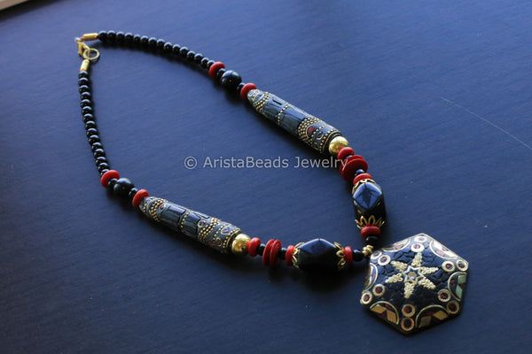 Black Coral Mosaic Necklace
