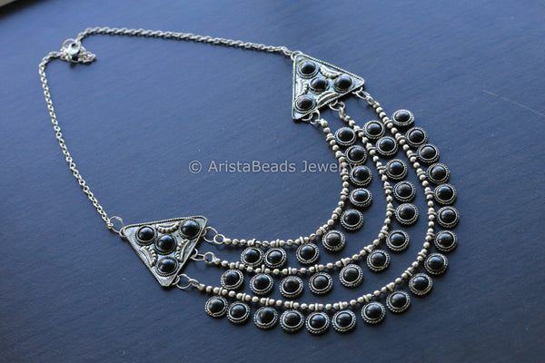 Black Stone Tribal Necklace