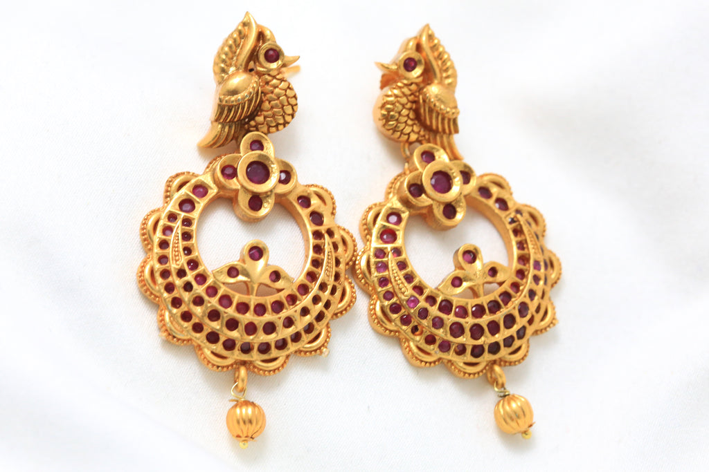 Antique Gold Ruby Peacock Chandbaali