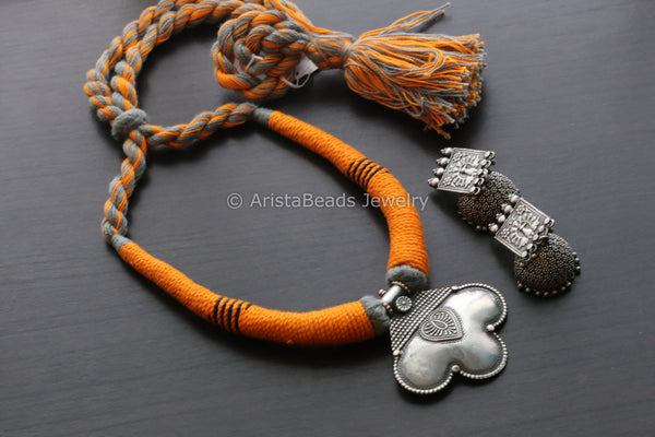Orange Grey Silver Look Necklace