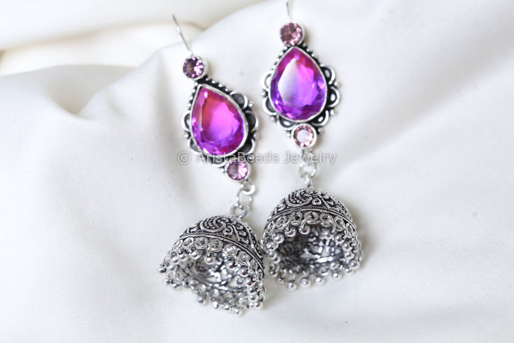 Purple Oxidized Stone Earring