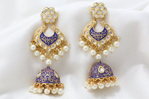 Layered Kundan Blue Enamel Jhumka