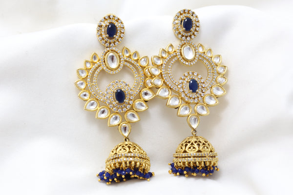 Layered Kundan CZ Blue Jhumka