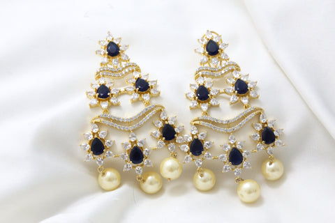 Layered Blue CZ Earrings
