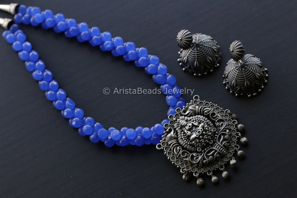 Blue Beaded Lakshmi Necklace