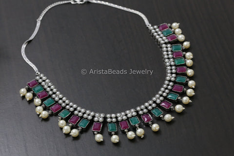 Oxidized CZ Necklace