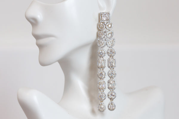 Long Contemporary CZ Earrings