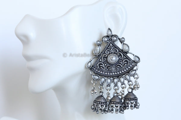 Oxidized Pearl Layered  Jhumka