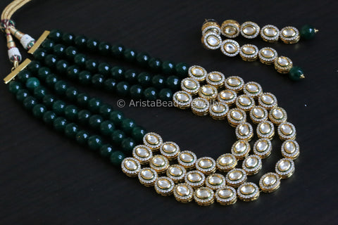Contemporary Kundan CZ Necklace - Green