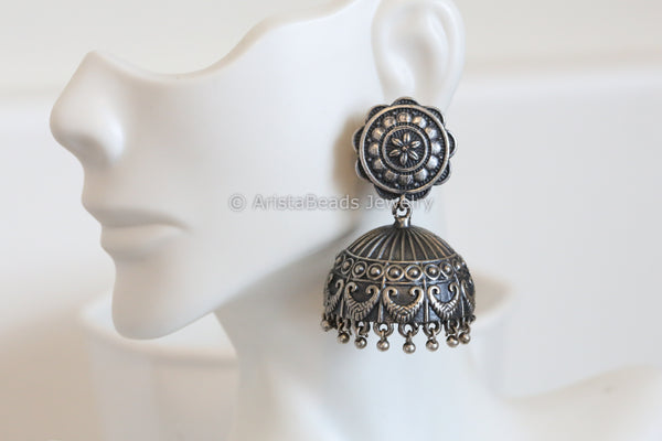 Tribal Silver Plated Jhumka